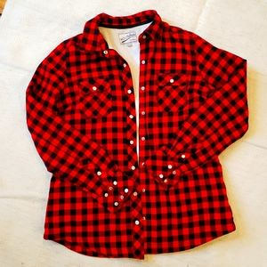 Red plaid button up jacket